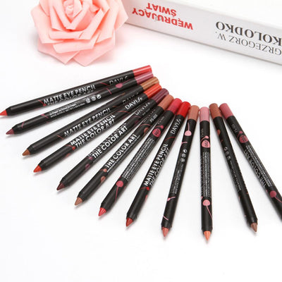 12 colors waterproof lipstick pencil