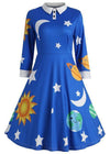 Halloween Mrs Frizzle Magic School Bus Print Retro Swing Dress