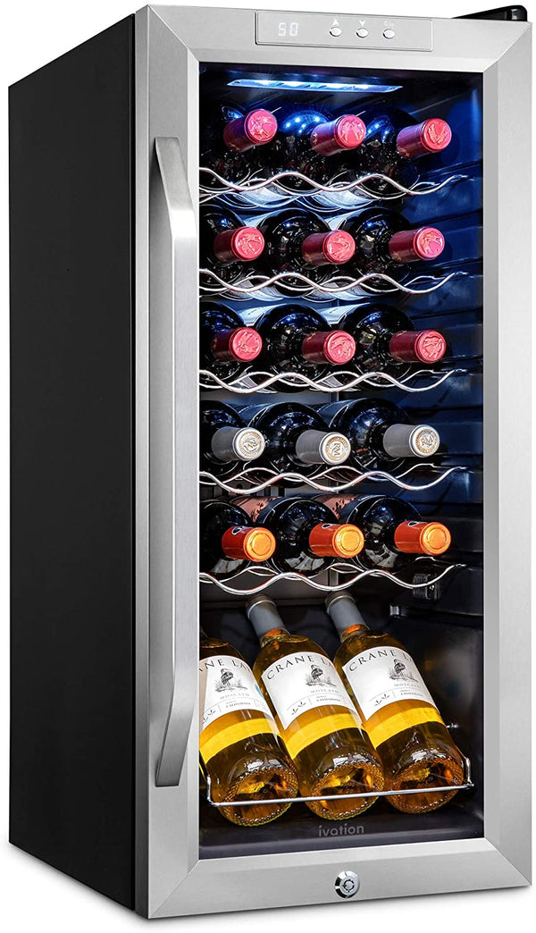 18 Bottle Compressor Wine Cooler Refrigerator Stainless Steel - Ivation Wine Coolers