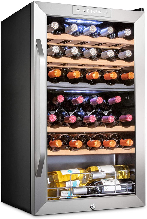 33 Bottle Dual Zone Wine Cooler Refrigerator Stainless Steel - Ivation Wine Coolers