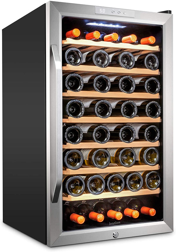 51 Bottle Compressor Wine Cooler Refrigerator - Stainless Steel - Ivation Wine Coolers