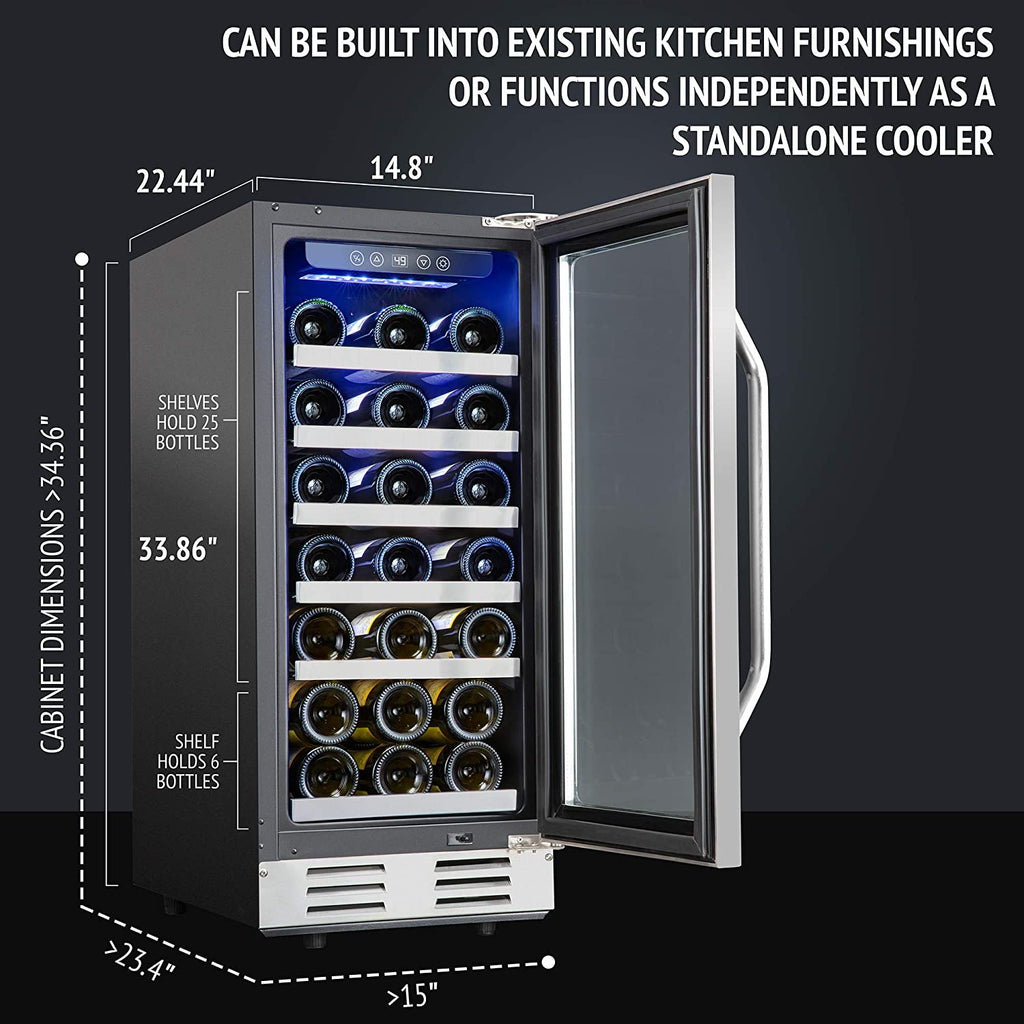 "31-Bottle 15"" Built-In Compressor Wine Cooler - Ivation Wine Coolers"