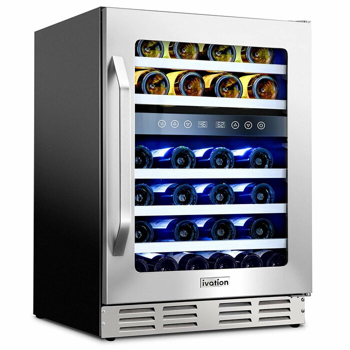 "46-Bottle Dual-Zone 24"" Built-In Compressor Wine Cooler - Ivation Wine Coolers"