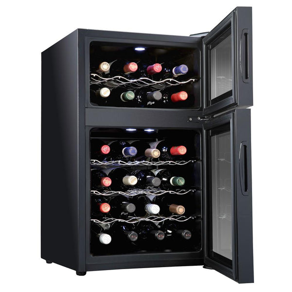 24 Bottle Dual Zone Thermoelectric Freestanding Wine Cooler - Black - Ivation Wine Coolers