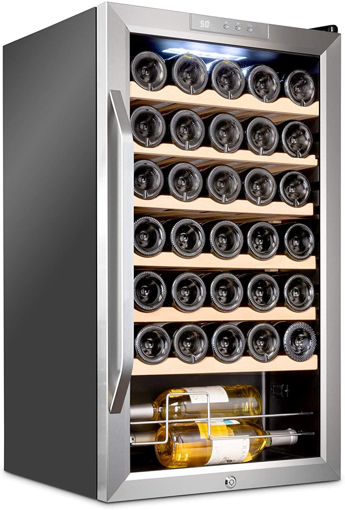 34 Bottle Compressor Wine Cooler Refrigerator - Stainless Steel - Ivation Wine Coolers