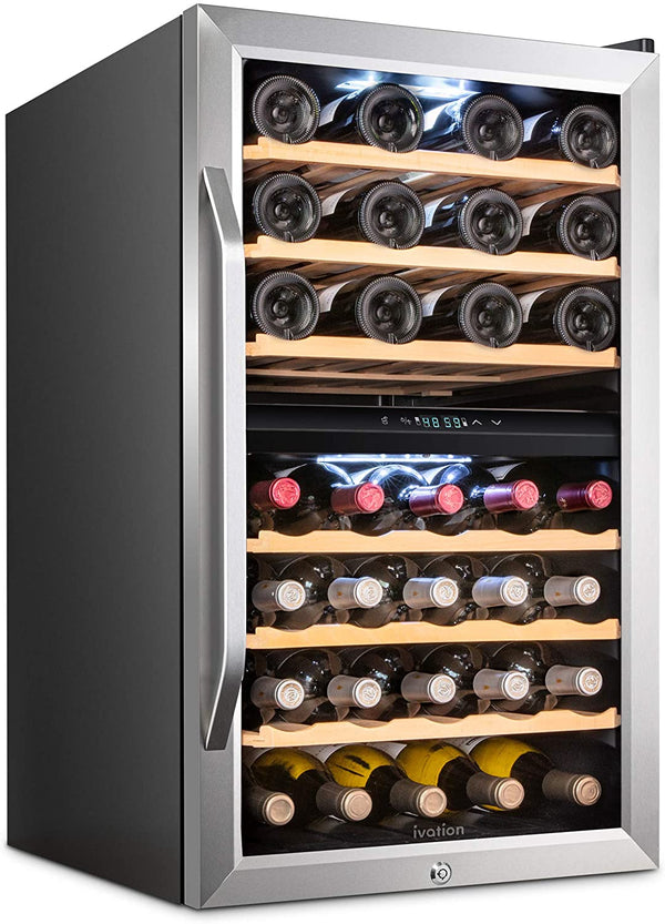 43 Bottle Dual Zone Wine Cooler Refrigerator Stainless Steel - Ivation Wine Coolers