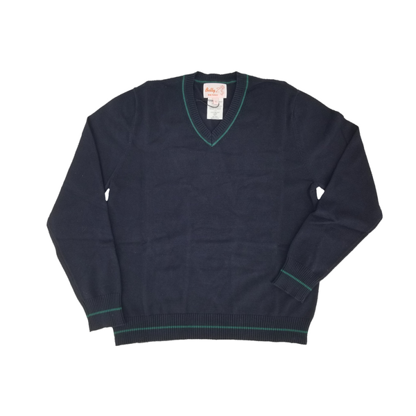 Cotton V Neck Sweater Navy w Green Trim 104VPGT