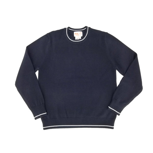 Cotton Crew Neck Sweater Navy w Grey Trim 104CPGT