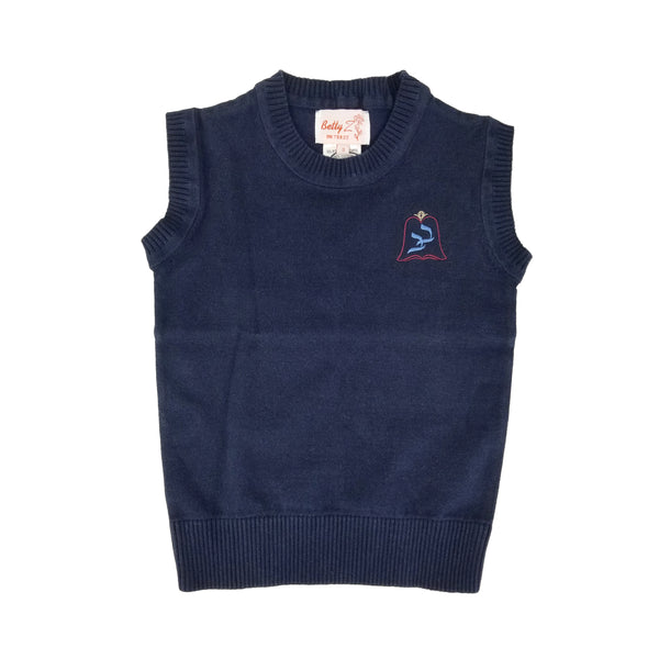 Cotton Crew Neck Vest Light Navy 107C with Bnos Bobov Embroidery