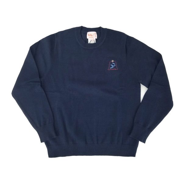 Cotton Crew Neck Pullover Light Navy 107CP with Bnos Bobov Embroidery