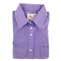 Betty z - purple checked gingham - girls shirt - long sleeves - school uniform