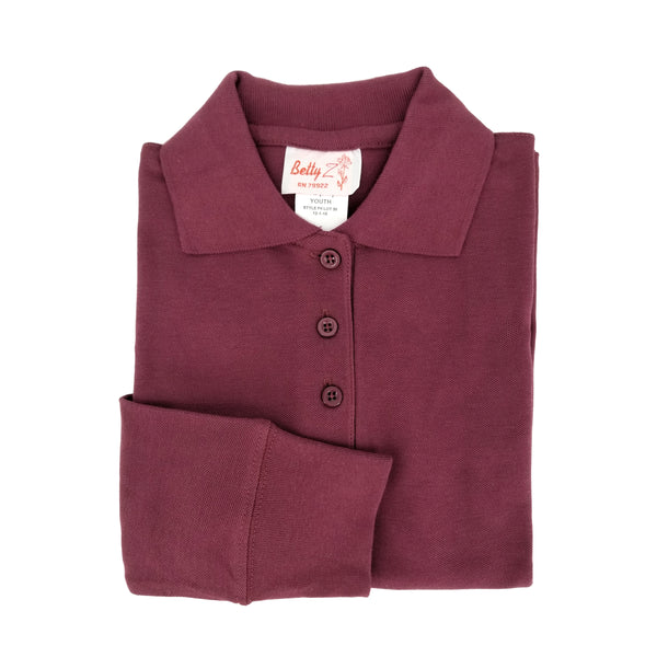 maroon polo shirt - long sleeves - pique knit