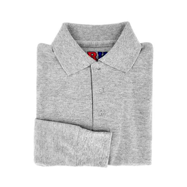 grey polo shirt - long sleeves - pique knit