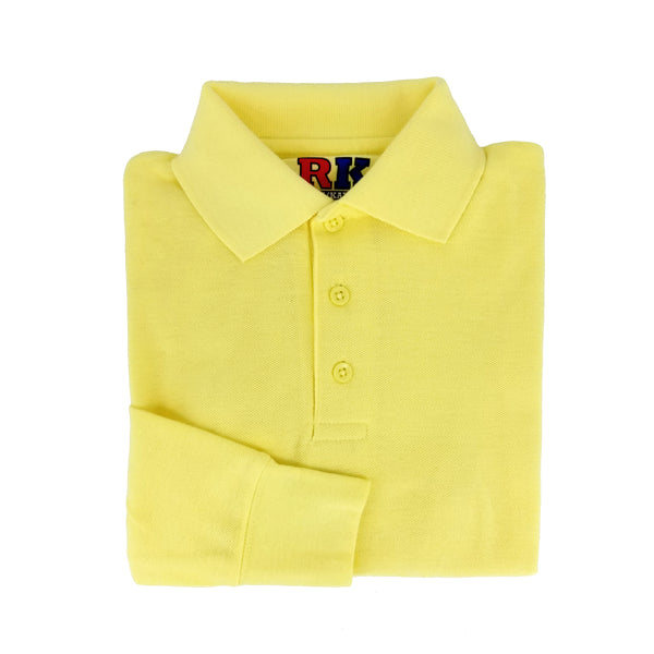yellow polo shirt - long sleeves - pique knit