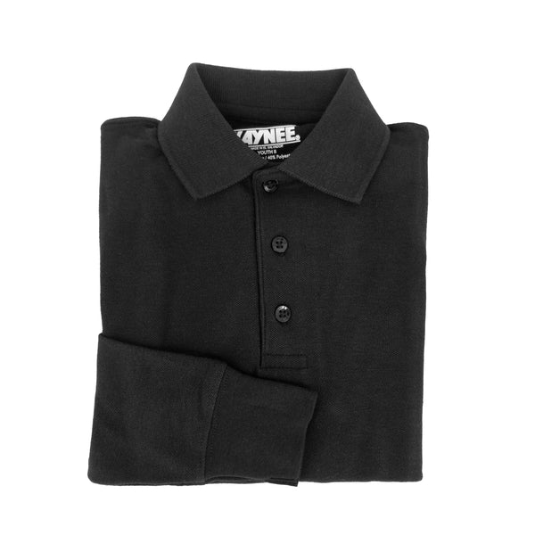 black polo shirt - long sleeves - pique knit