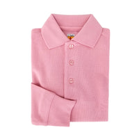 pink polo shirt - long sleeves - pique knit