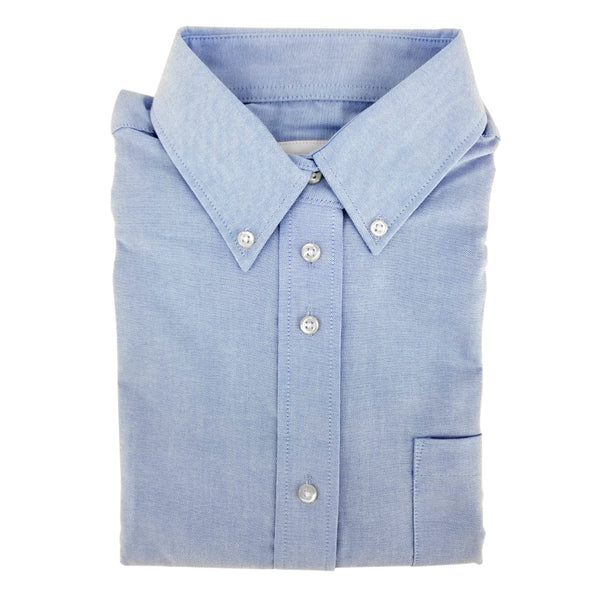 Light Blue Shirt With Straight Hem Finish For Girls - 6238
