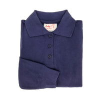 bright navy polo shirt - long sleeves - pique knit