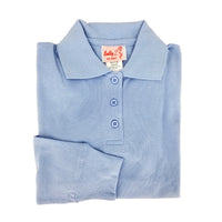 light blue polo shirt - long sleeves - pique knit