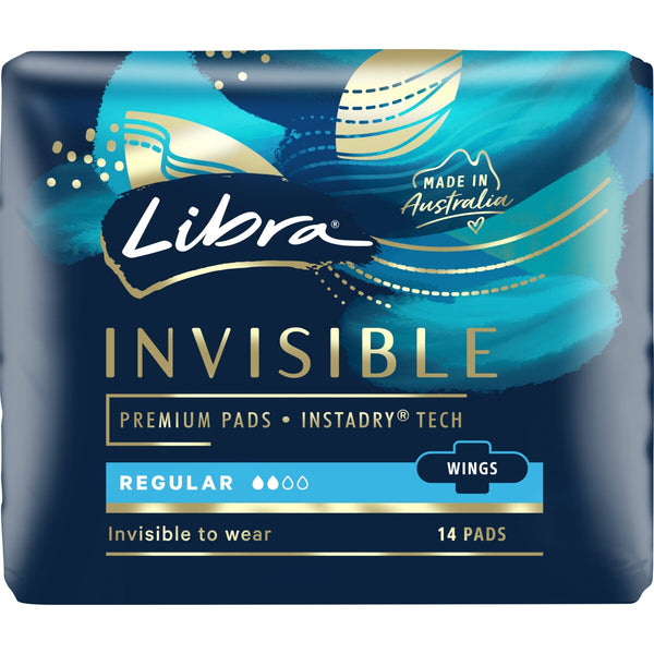 Libra Invisible 14 Regular Pads With Wings