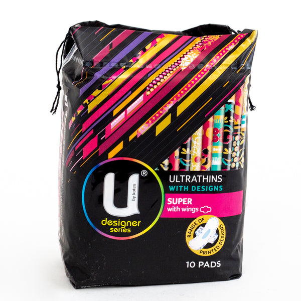 U By Kotex Designer Series Ultrathins Super with Wings 10 Pads