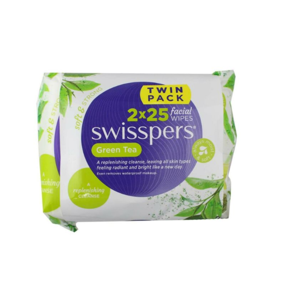 Swisspers Pk2 x 25 Facial Cleansing Wipes Green Tea