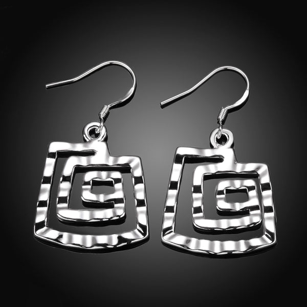 Silver Square Thread Earring - Vitaezen