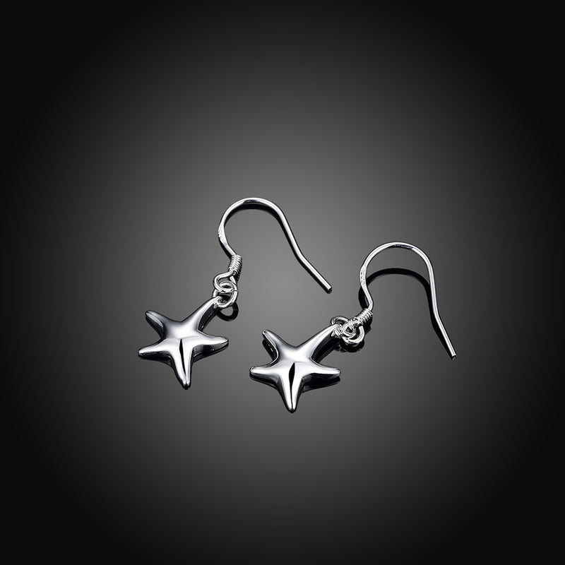 Star Shape Silver Drop Earring - Vitaezen
