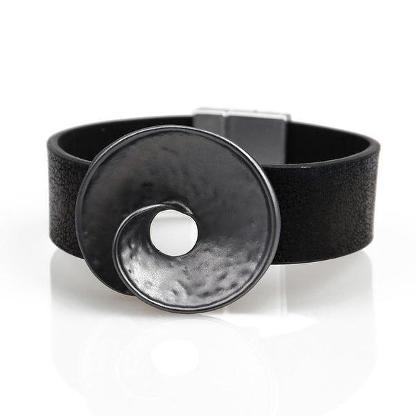 Leather bracelet with Silver Top - Vitaezen