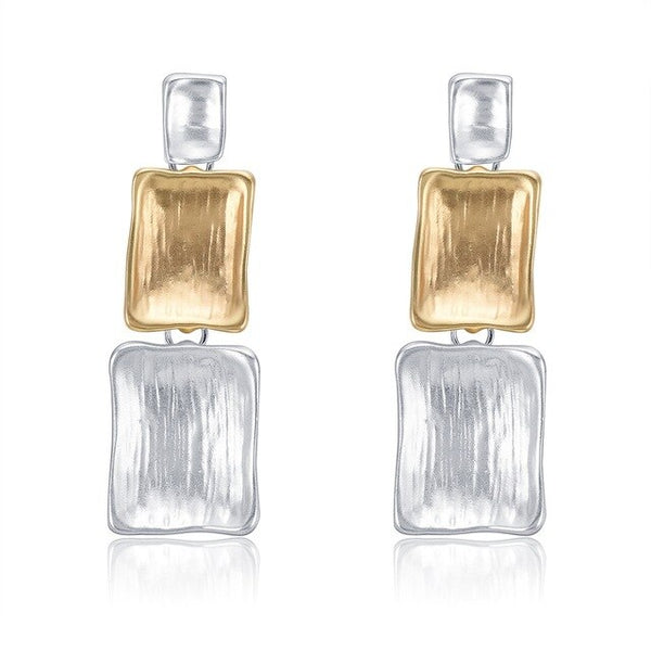 Silver Gold Drop Earrings - Vitaezen
