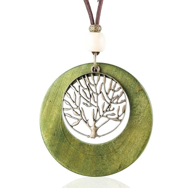 Tree Wooden Pendant Necklace - Vitaezen