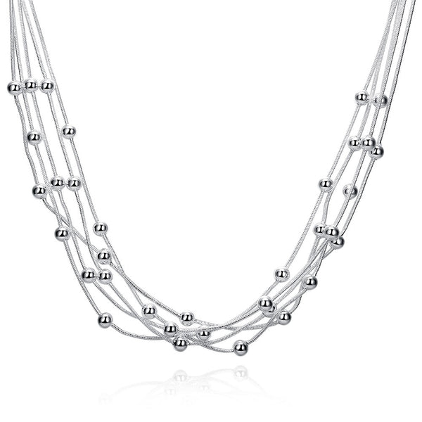 Solid Silver Lines Chain Necklace - Vitaezen