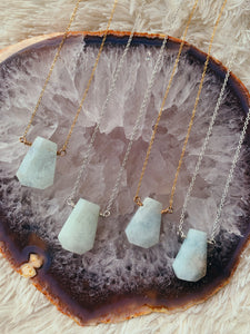 Trapezoid Gemstone Necklace | Aquamarine