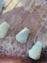 Load image into Gallery viewer, Trapezoid Gemstone Necklace | Aquamarine