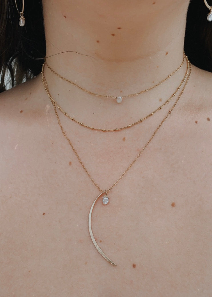 Moon + Pearl Necklace