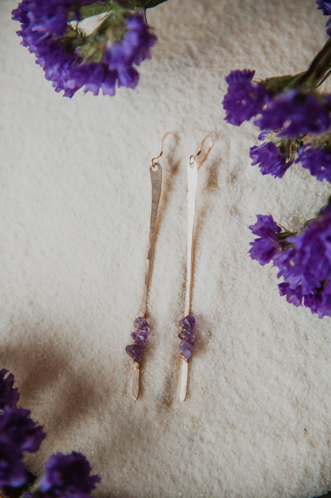 Line Earrings | Amethyst