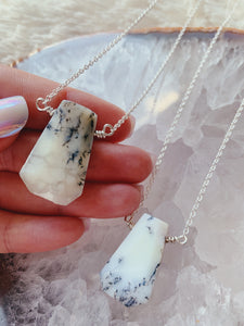 Trapezoid Gemstone Necklace | White Opal