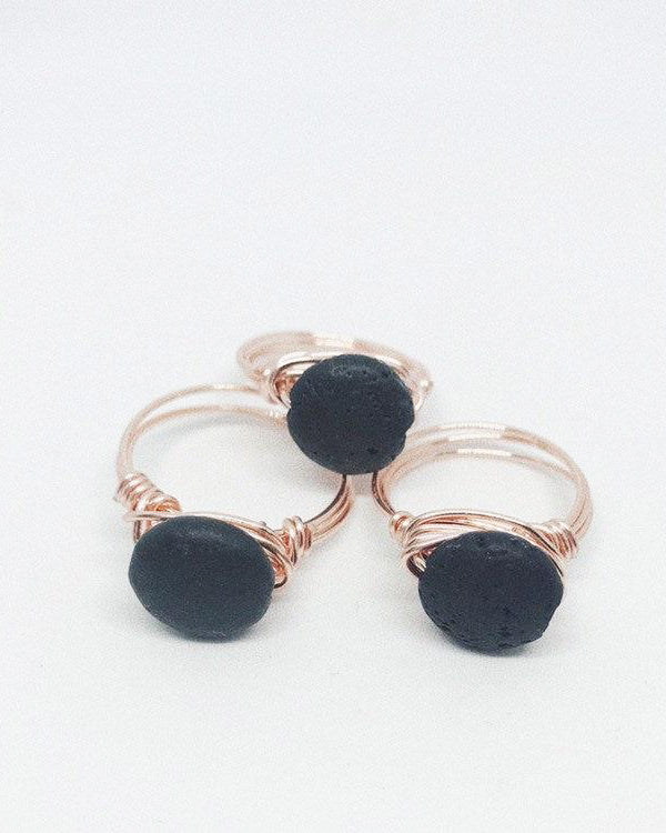 Wire Wrapped Ring | Raw Lava Stone
