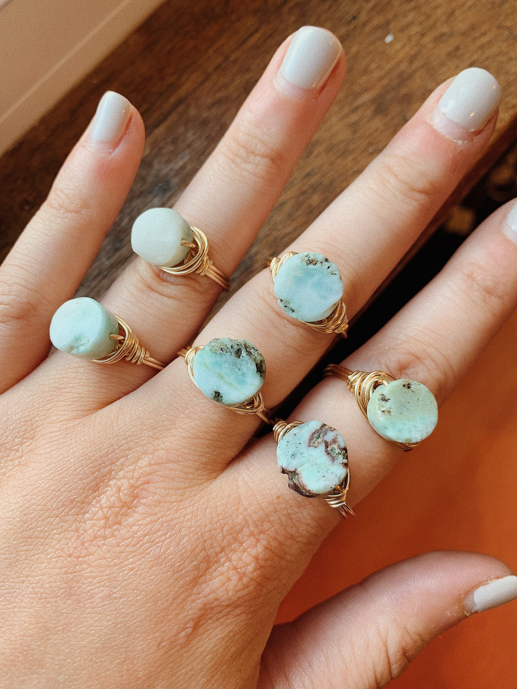 Wire Wrapped Ring | Larimar