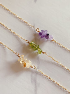 Raw Multi Stone Necklace | Peridot
