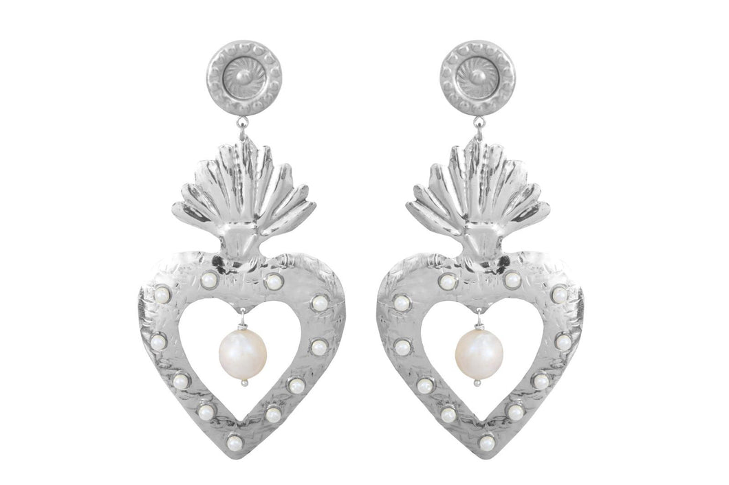 PEARL HEARTS SILVER PEARLS