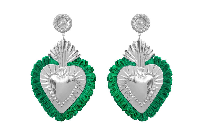 THE HEARTS  SILVER  GREEN  FRINGE