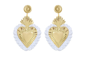 THE HEARTS  GOLD  WHITE  FRINGE