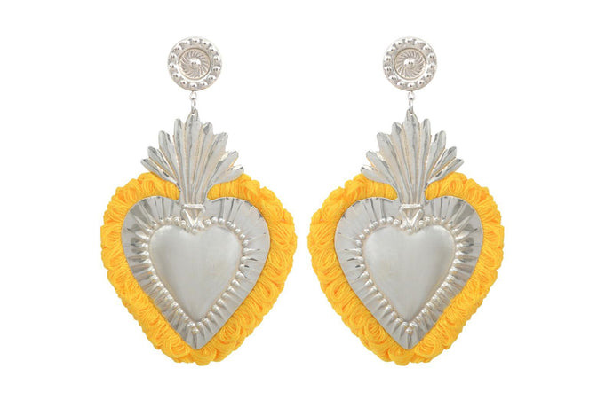 THE HEARTS  SILVER  YELLOW  FRINGE