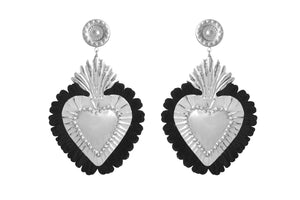 THE HEARTS  SILVER  BLACK  FRINGE