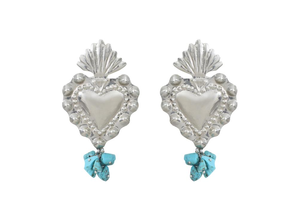 MINI HEART  TURQUOISE SILVER