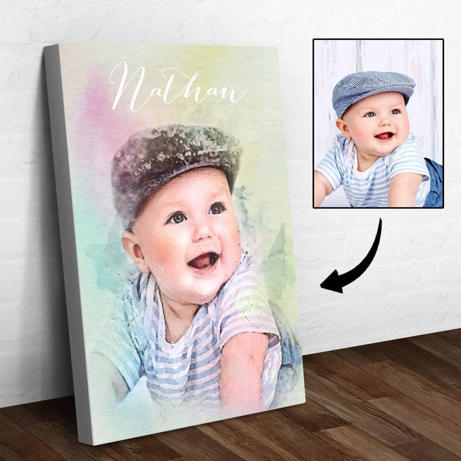 Baby Watercolor Portrait