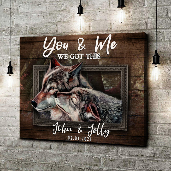 You & Me - Personalized Wolves Canvas