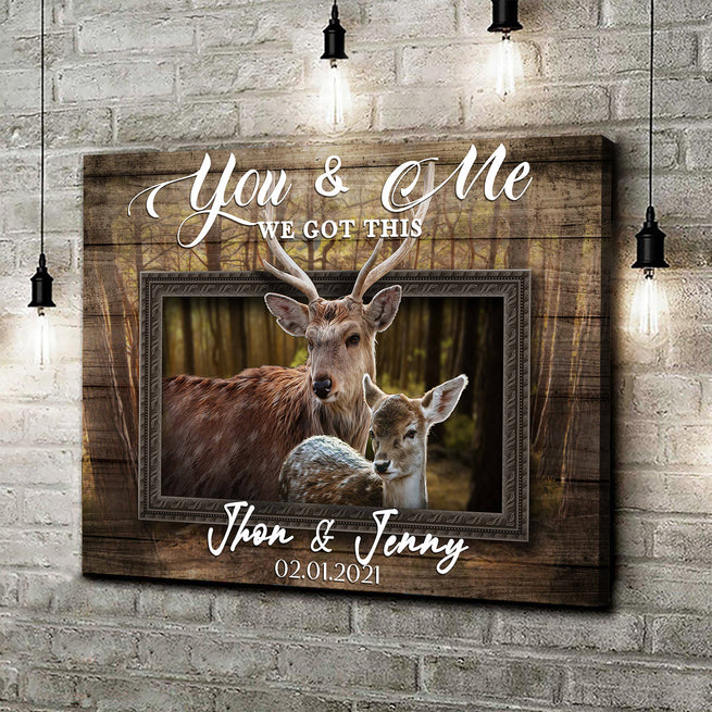 You & Me - Personalized Deer Canvas