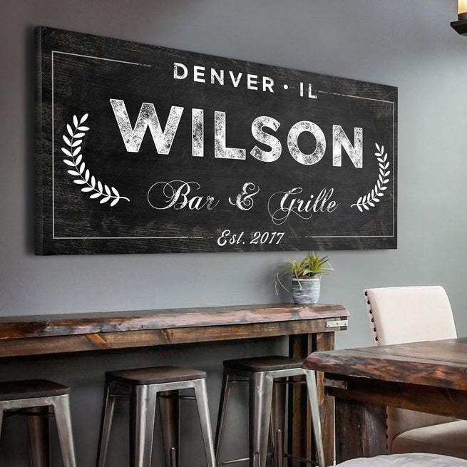 Bar & Grill - Personalized Huge Canvas